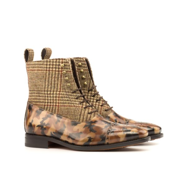 brown camo pattern patina leather Balmoral Boots MARCO