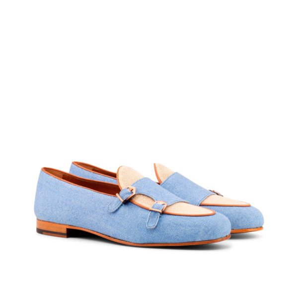 blue and cream linen Monk Slippers MELLERY