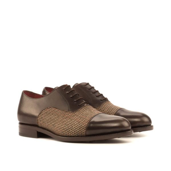 contrast tweed and leather Oxford Shoes ARTFUL