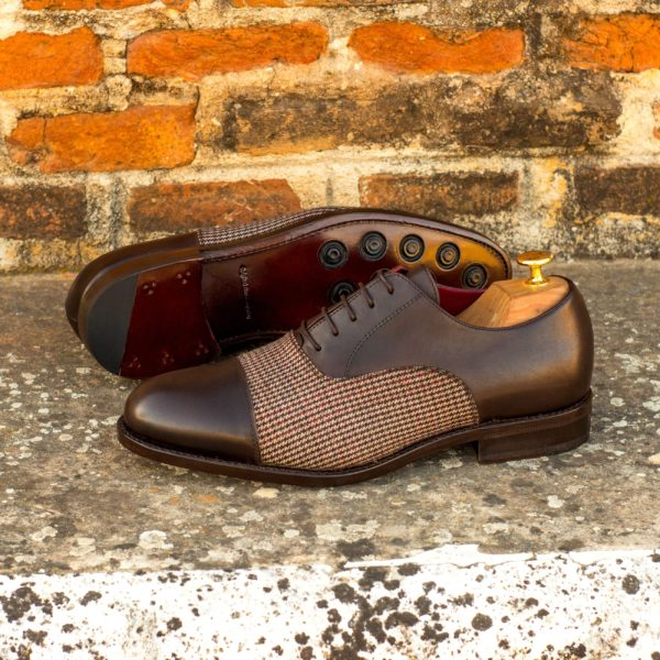 brown leather and tweed Oxford Shoes ARTFUL