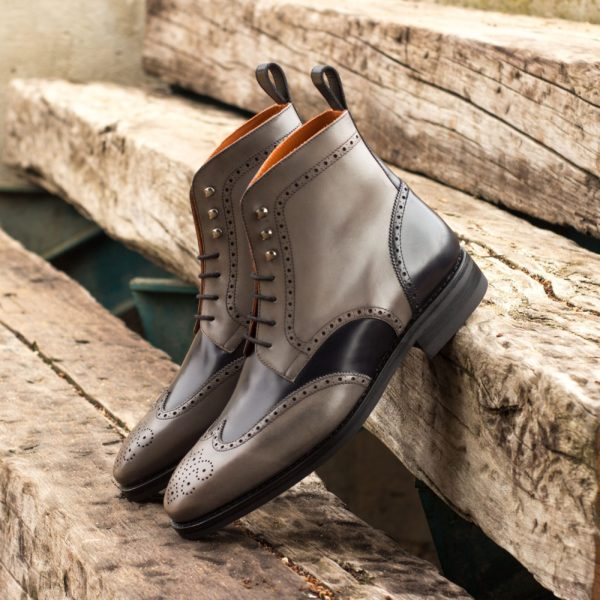Grey and black leather Brogue Boots BEARER