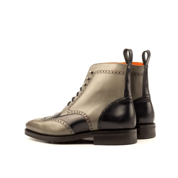 black leather ankle detail on two tone Brogue Boots BEARER