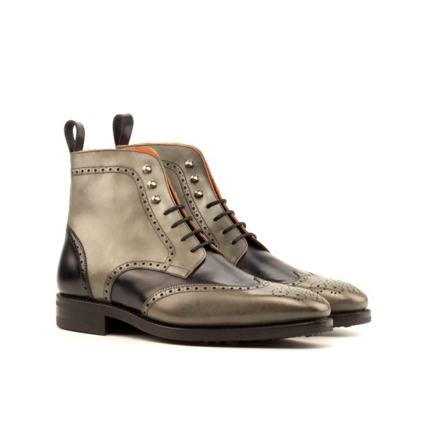 two tone Brogue Boots black and grey BEARER