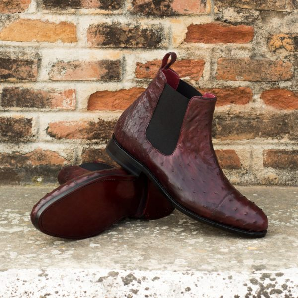 Burgundy Ostrich Chelsea Boots with black elastics