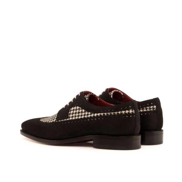 rear of black and white hounstooth contrast Shoes BOJANGLES