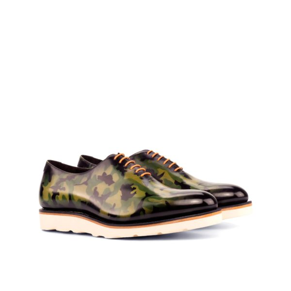 casual WholeCut shoes green camouflage pattern leather CAMO