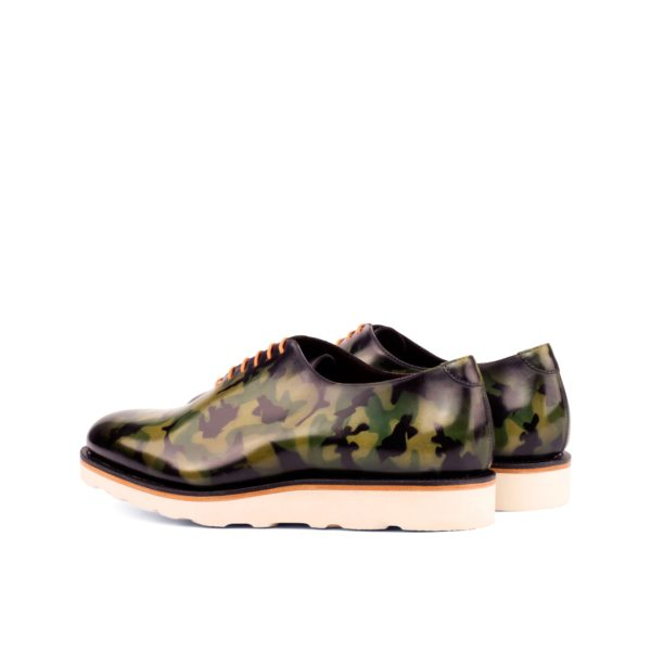 WholeCut CAMO rear view of camouflage patterned green leather casual shoes
