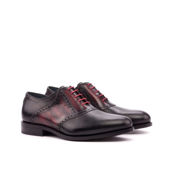 black and burgundy contrast patina leather Saddle shoe GENNO