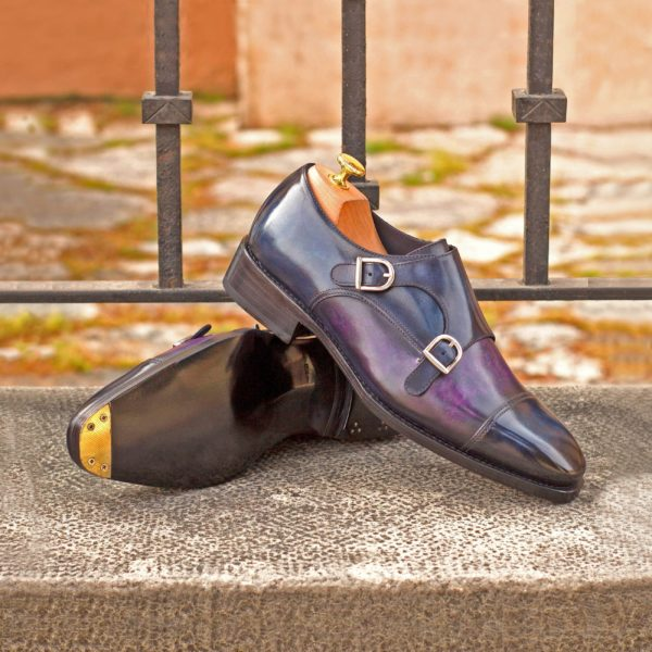 navy and purple contrast patina Double Monk GIANCARLO shoes