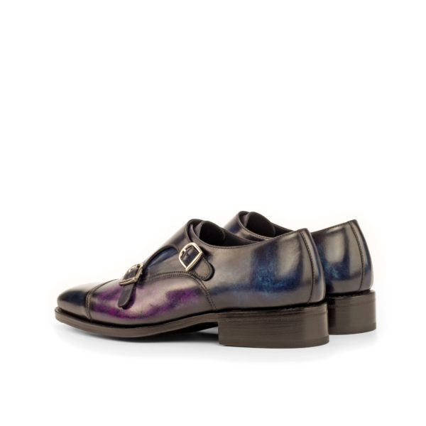 rear of navy and purple higher heel double monks GIANCARLO