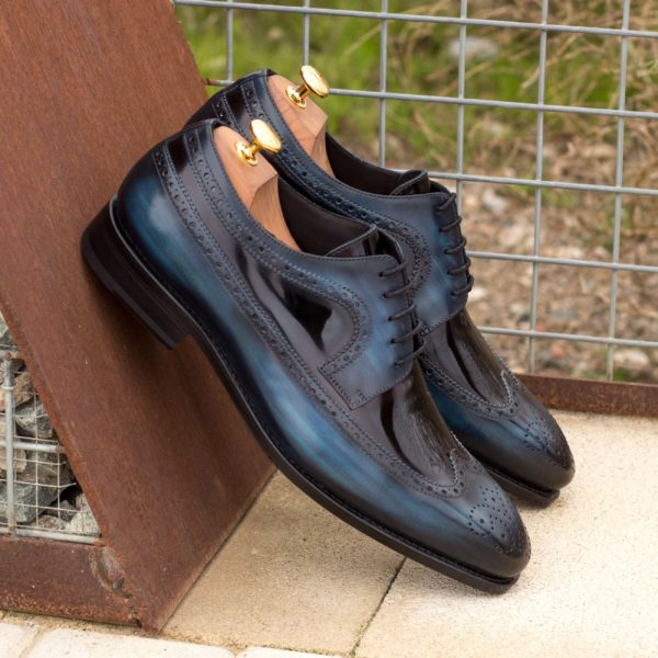 navy Patina black patent leather Longwing Blucher Shoes NOCTO