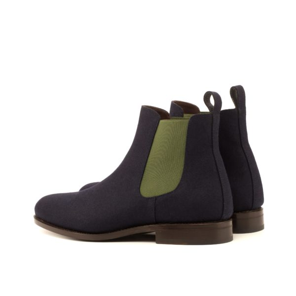 rear details green elastics on navy flannel Chelsea Boots OLE