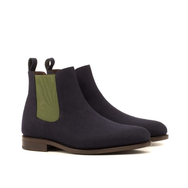 navy flannel Chelsea Boots with green elastics OLE