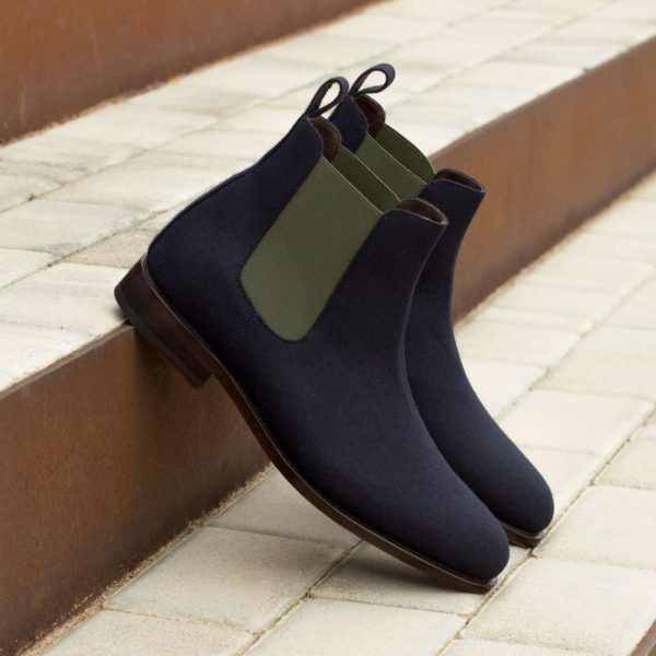 green elastics contrasting with navy flannel Chelsea Boots OLE