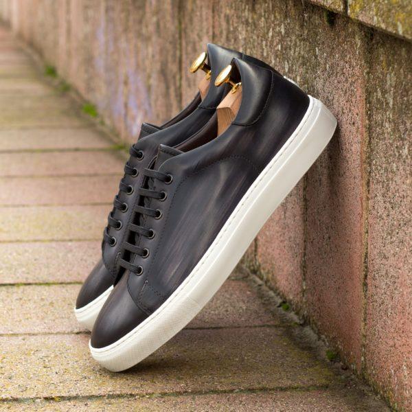 regular dark grey Patina Leather smart Trainers ATALANTA