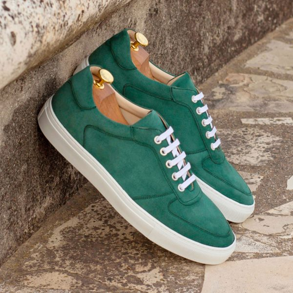forest green soft kid suede Low-Top Trainers BOBBY