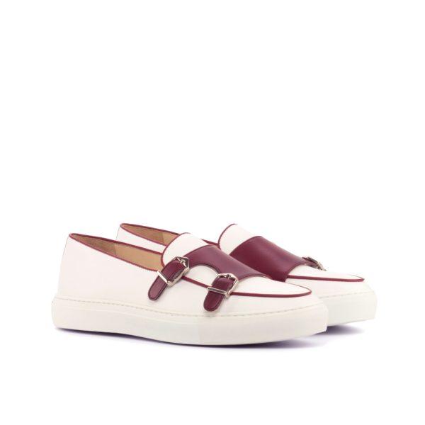 white and burgundy Monk-Strap Sneakers BRUEGEL by Civardi