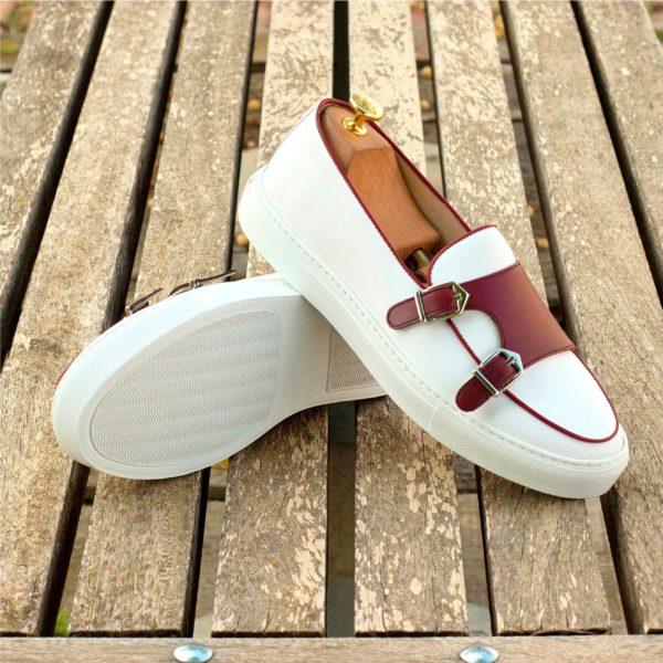 burgundy trimmed white leather Monk-Strap Sneakers BRUEGEL