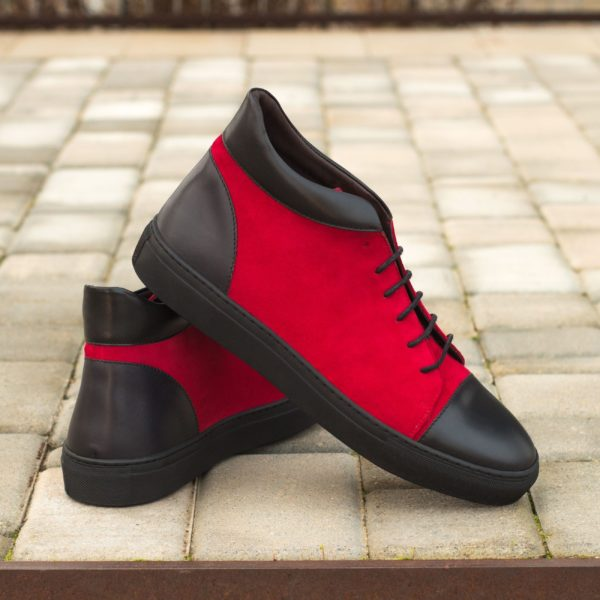 red kid suede Hi-Tops BULLS design with black leather toe and heel