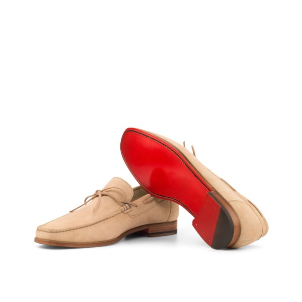 plaine red leather soles on beige suede Moccasins CLEO