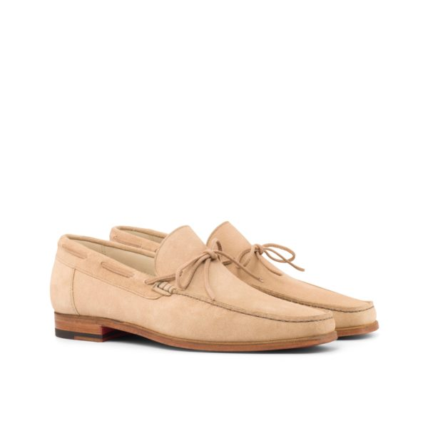 beige suede laced Moccasins with bow CLEO by Civardi