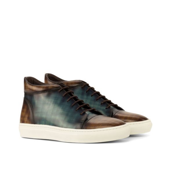 fashionable brown and turquoise Patina Leather Hi-Tops COURT by Civardi
