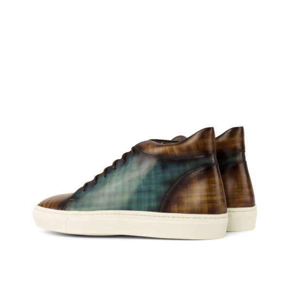 rear brown papiro patina heel and ankle surround on fashionable Hi-Tops COURT