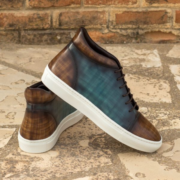 multi color Patina leather Hi-Tops COURT turquoise brown
