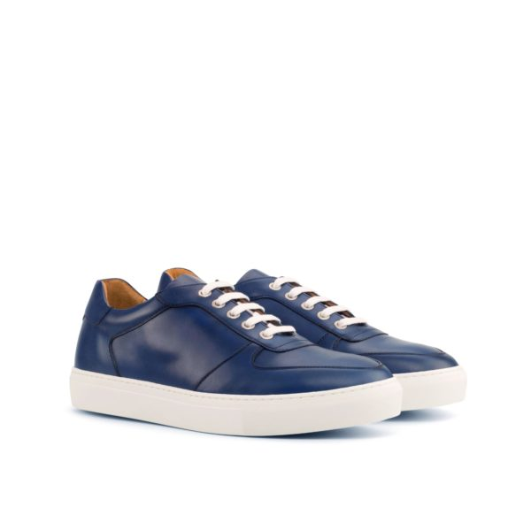 stylish navy blue calf leather Low-Top Trainers DAVY by Civardi