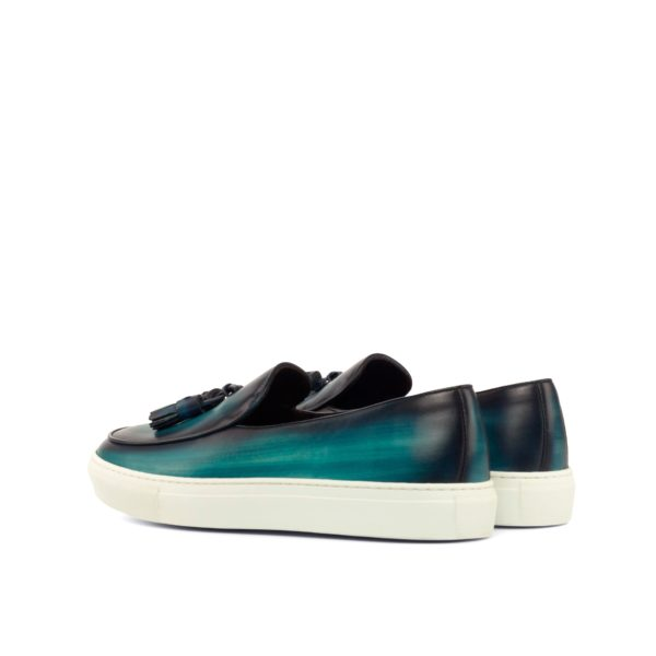 rear intense turquoise patina leather Belgian Sneakers DEBRUYNE