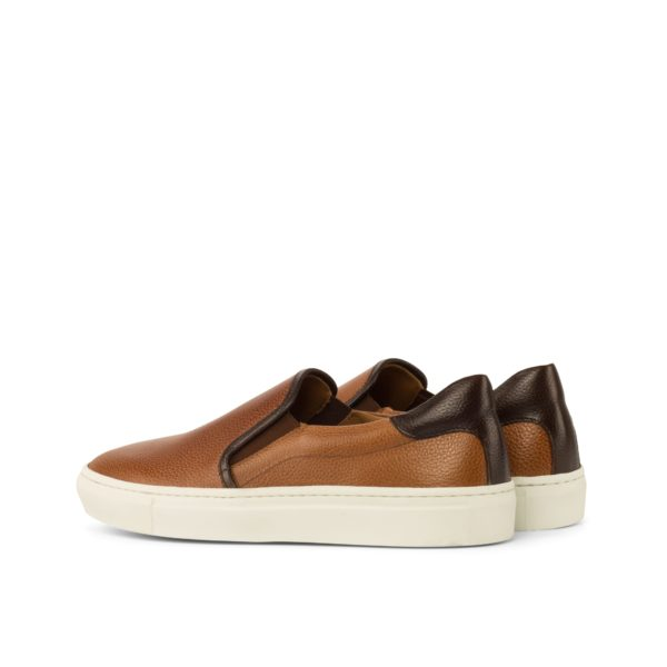 rear trim detail dark brown leather on tan Slip-On Sneakers FINN
