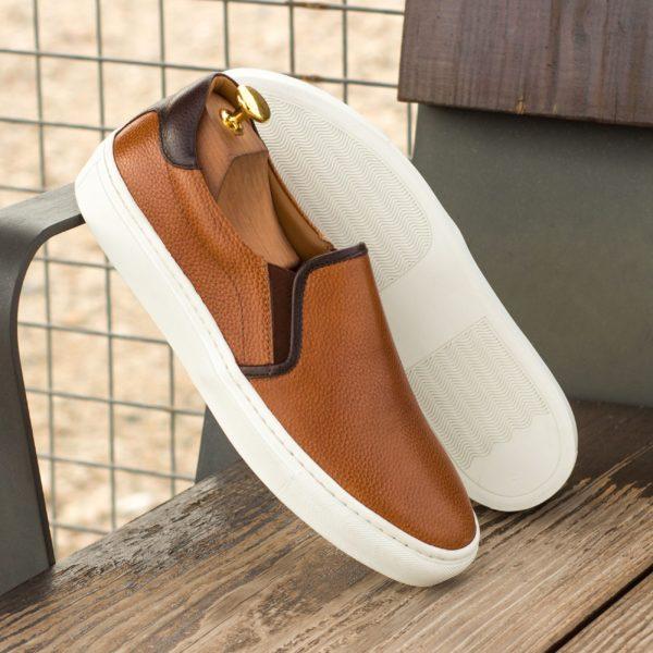 cognac full grain leather Slip-On Sneakers FINN