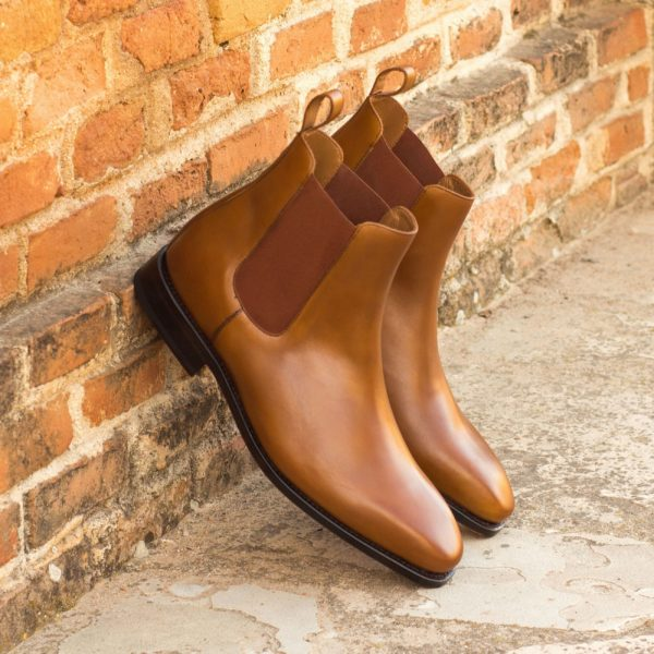 cognac tan box calf leather Chelsea Boots HAMIL