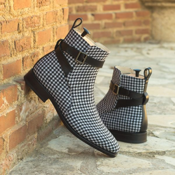 houndstooth Jodhpur Boots with contrast leather strap HOUND
