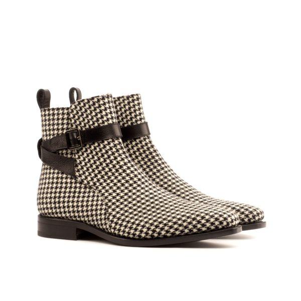 black and white houndstooth fabric Jodhpur Boots HOUND