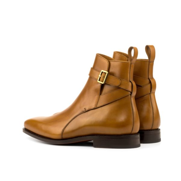 rear strap and buckle detail on tan leather Jodhpur Boots INDIANA