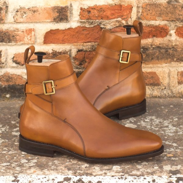 plain tan leather buckle Boots INDIANA