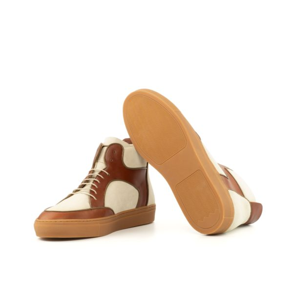 caramel colored rubber soles on ivory and tan Luxury Hi-Tops LARRY