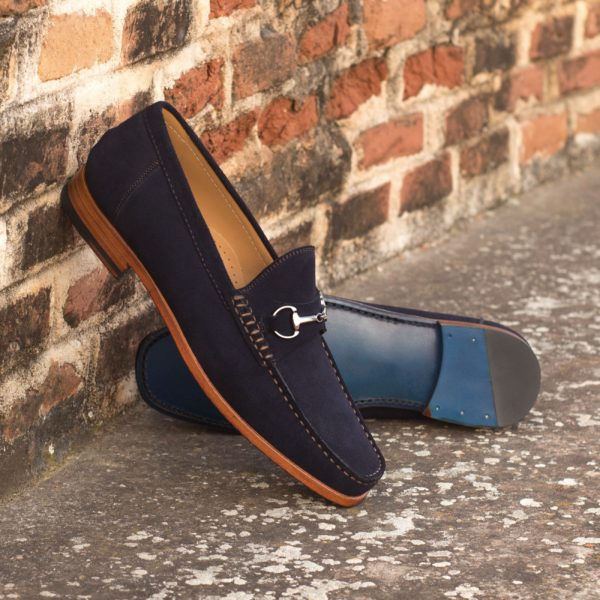 navy blue Moccasins with graphite grey snaffle LES