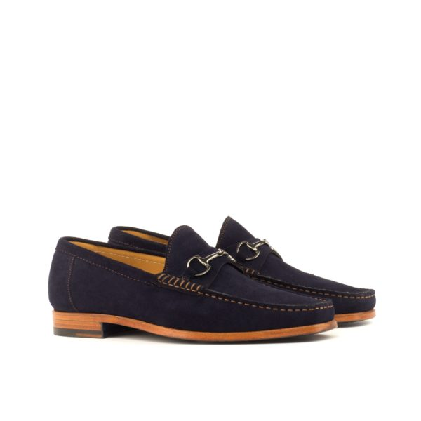 snaffle Moccasins in navy blue suede with graphite horsebit LES by Civardi