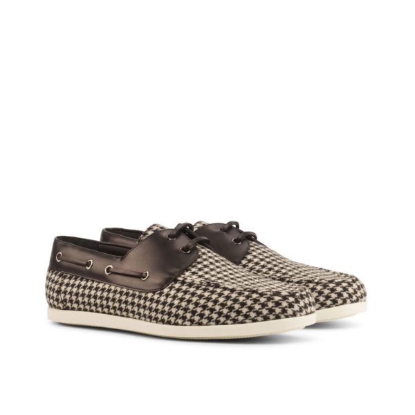 houndstooth Boat Shoes LURSSEN black and white fabric and leather by Civardi