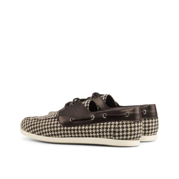 rear black leather trim detail on houndstooth Boat Shoes LURSSEN