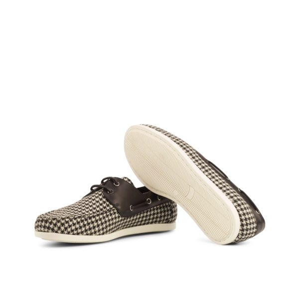 contrast rubber soles on black and white houndstooth fabric Boat Shoes LURSSEN
