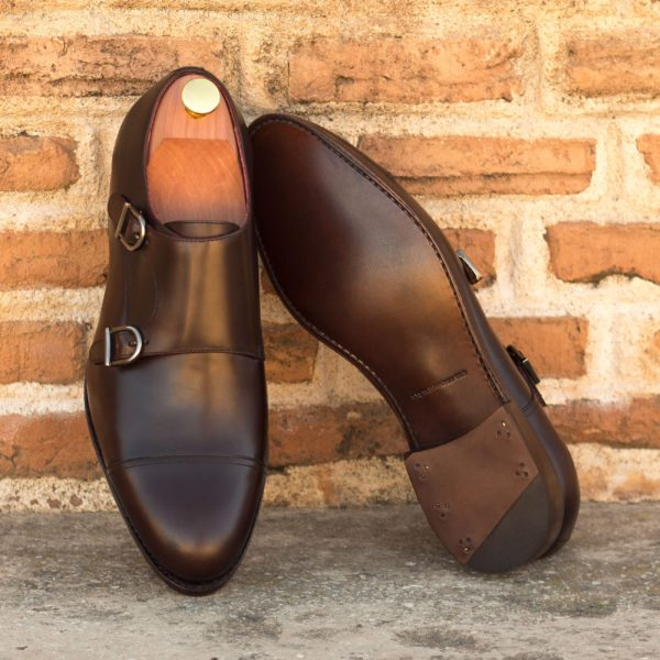 brown leather Monk Shoes for men MARLON