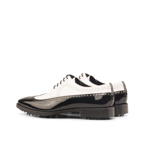 rear detail black white patent brogue Longwing Golf Shoes NORMAN