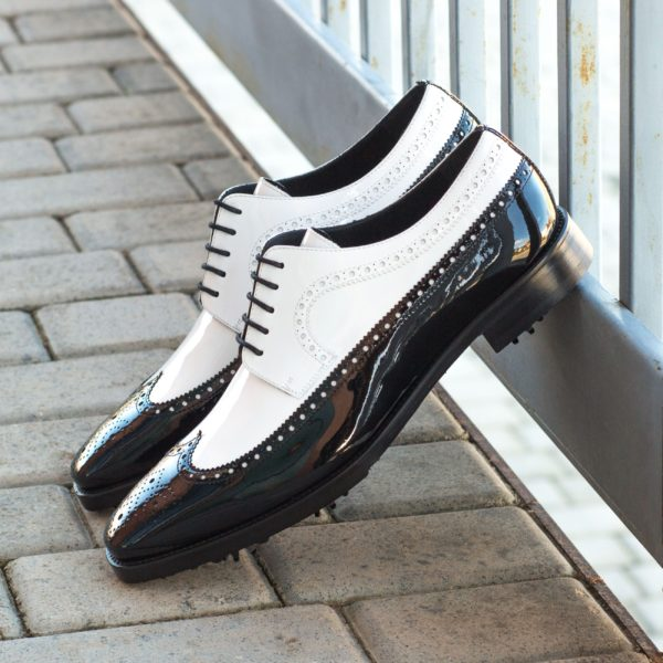 black patent leather wingtip Golf Shoes NORMAN