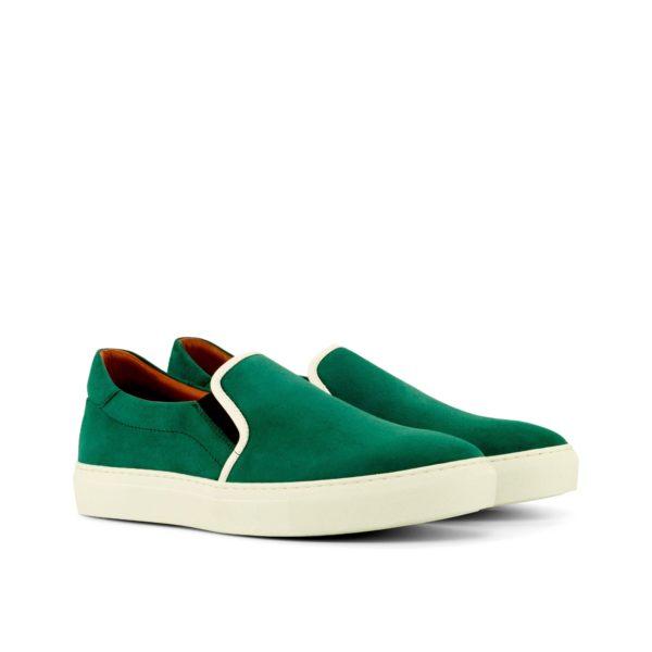 forest green kid suede Slip-On Sneakers PAT by Civardi