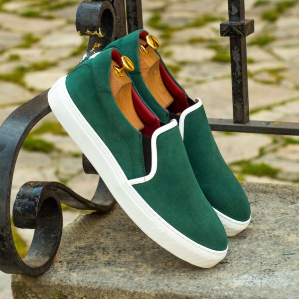 forest green suede Slip-On Sneakers PAT white contrast detail