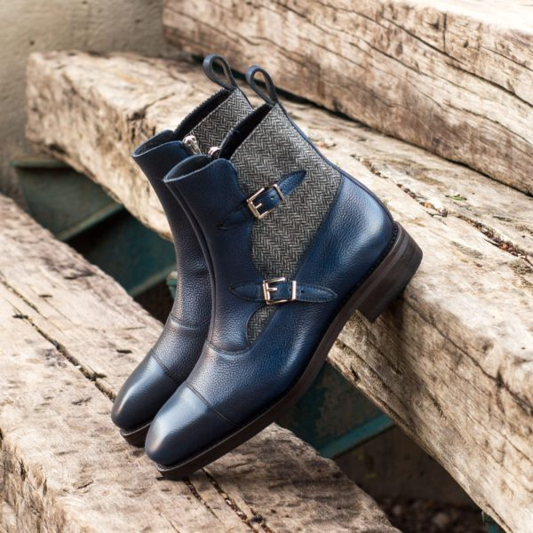 navy leather Octavian Buckle Boots with grey herringbone tweed PRATO
