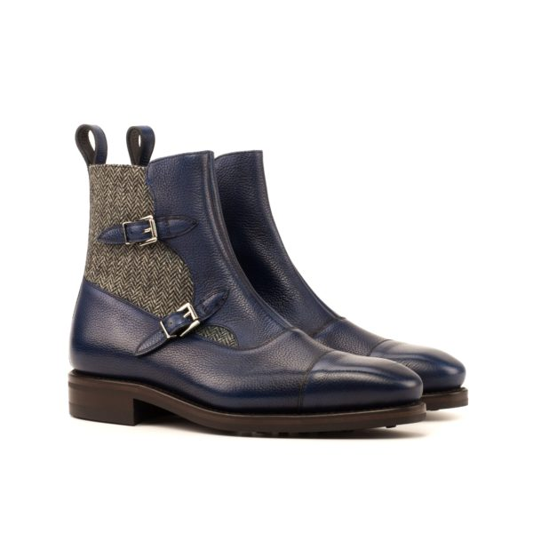 navy full grain leather Octavian Buckle Boots PRATO